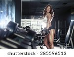 nice sexy woman doing workout...   Shutterstock . vector #285596513