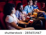 young friends watching a film... | Shutterstock . vector #285651467