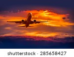 passenger airplane in the... | Shutterstock . vector #285658427