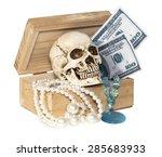 Human Skull In Treasure Box