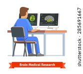 doctor looking at results of... | Shutterstock .eps vector #285691667