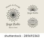 yoga ornamental emblem set.... | Shutterstock .eps vector #285692363