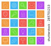 set of 25 thin line icons for...