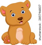 cute brown bear cartoon sitting | Shutterstock . vector #285746837