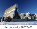 Small photo of U. S. Air Force Academy Cadet Chapel coated in snow.
