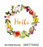 "floral wreath with ""hello"" text.... 
