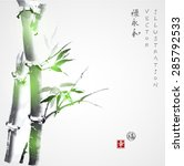 card with green bamboo in sumi... | Shutterstock .eps vector #285792533