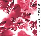 floral pattern with peony. hand ... | Shutterstock . vector #285801137