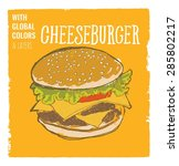 cheeseburger with lettuce and... | Shutterstock .eps vector #285802217