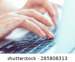 female hands or woman office... | Shutterstock . vector #285808313