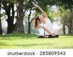 pretty woman doing yoga... | Shutterstock . vector #285809543