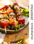 salmon and vegetable skewers | Shutterstock . vector #285839363