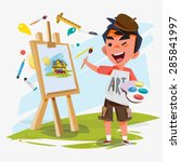 artist boy painting on canvas...