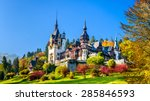 Peles Castle, Romania. Beautiful famous royal castle and ornamental garden in Sinaia landmark of Carpathian Mountains in Europe