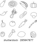 vegetable  icon set . | Shutterstock . vector #285847877