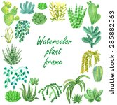 watercolor houseplant banner | Shutterstock .eps vector #285882563