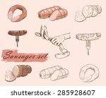 meat collages with different... | Shutterstock .eps vector #285928607