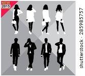 set of men and women black... | Shutterstock .eps vector #285985757