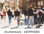 Blurred Crowd Of Walking Peopl...