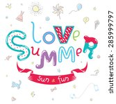 cute summer greeting card in... | Shutterstock .eps vector #285999797