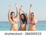 group of friends in swimsuits...   Shutterstock . vector #286000523