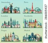 cities skylines set. vector... | Shutterstock .eps vector #286005437
