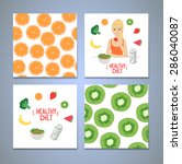 hand drawn vector set of... | Shutterstock .eps vector #286040087