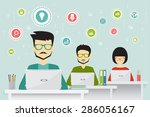coworking  teamworking and... | Shutterstock .eps vector #286056167