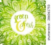 Green Watercolor Vector Round...