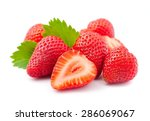 Ripe Strawberry On White...