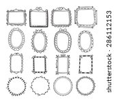 vintage hand drawn frames in... | Shutterstock .eps vector #286112153