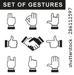 various hand gestures. the... | Shutterstock .eps vector #286112597
