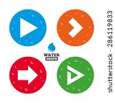 water drops on button. arrow...