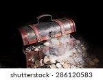 treasure chest filled with coin ... | Shutterstock . vector #286120583