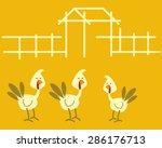 turkey farm for thanksgiving... | Shutterstock .eps vector #286176713
