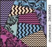 vector color seamless patchwork ... | Shutterstock .eps vector #286183043