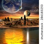 alien planet with planets ... | Shutterstock . vector #286183253