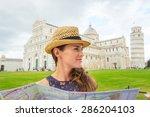 a woman wearing a straw hat... | Shutterstock . vector #286204103