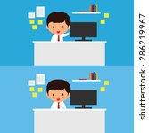 business man works at a desk...   Shutterstock .eps vector #286219967