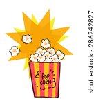 flat popcorn vector | Shutterstock .eps vector #286242827