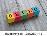 word hello on colorful wooden... | Shutterstock . vector #286287443