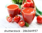 Glasses Of Fresh Tomato Juice...