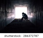 depressed man sitting in the... | Shutterstock . vector #286372787