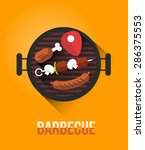 vector set of barbecue and... | Shutterstock .eps vector #286375553
