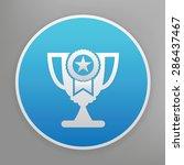 trophy design icon on blue...