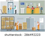 Flat Design Of Post Office...