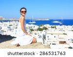 young woman wearing white dress ... | Shutterstock . vector #286531763
