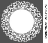 white lace doily. floral... | Shutterstock .eps vector #286541093