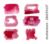 set of red ink stains with... | Shutterstock .eps vector #286554137