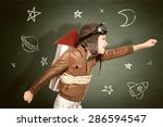young boy with home made rocket ... | Shutterstock . vector #286594547